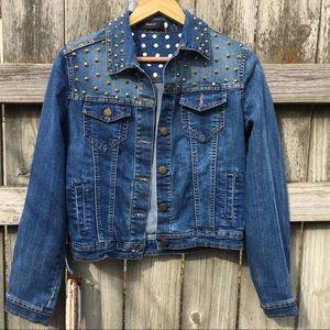 Forever 21 Studded Denim Jacket Size L